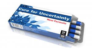 Cure for Uncertainty - Blue Open Blister Pack Tablets Isolated on White.