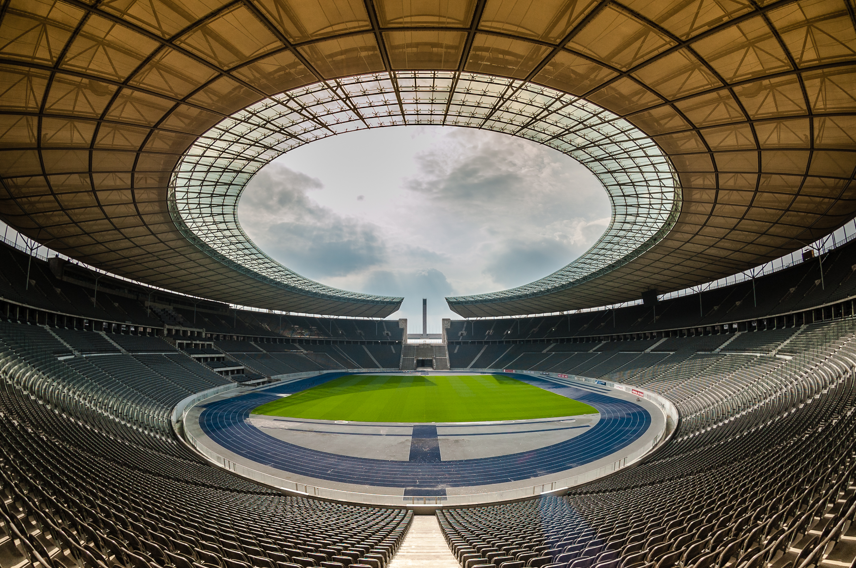 Berlin, Germany - April 17, 2013: View of an empty Berlin's Olympia Stadium built for the 1936 Summer Olympics.