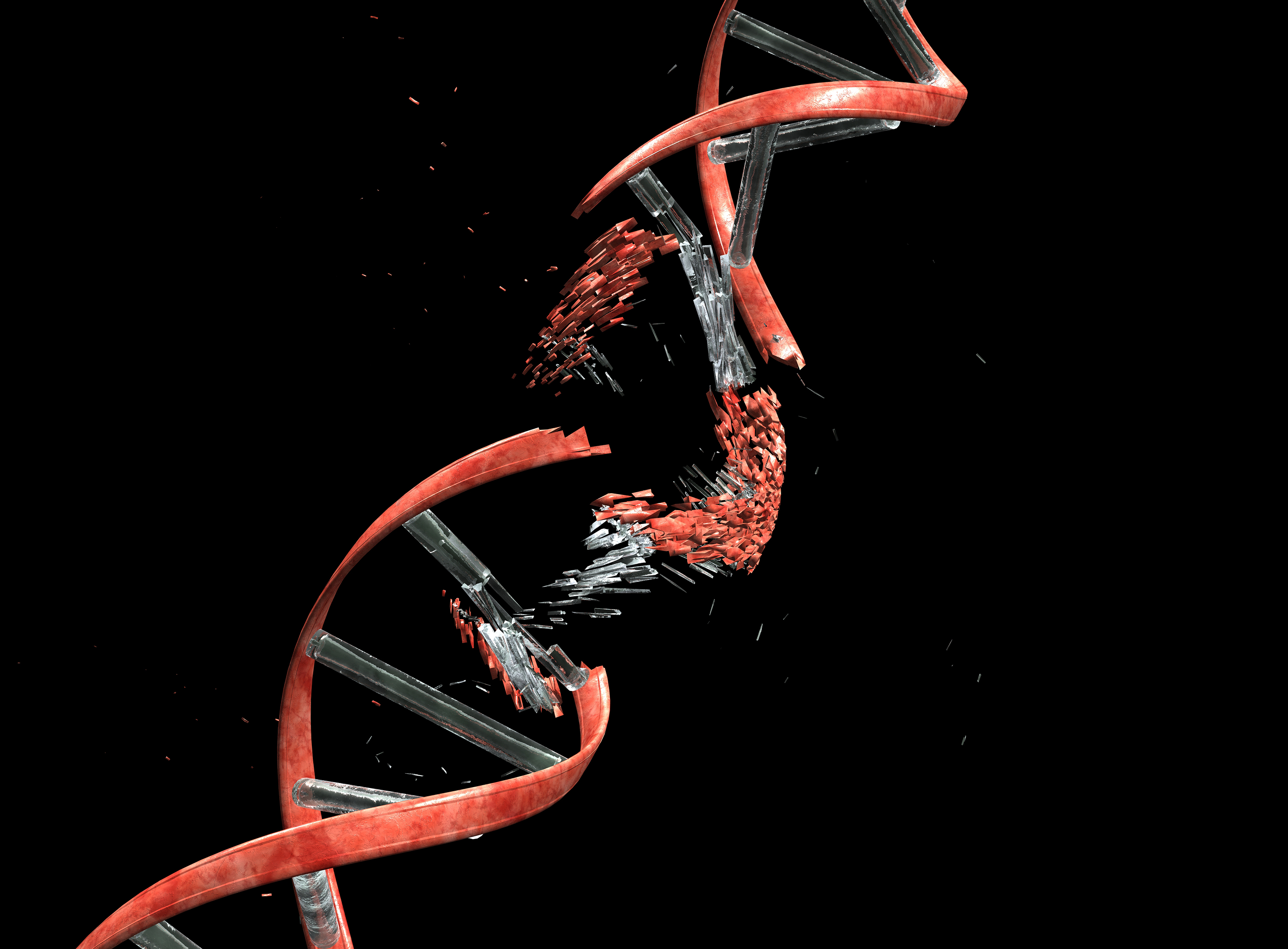 DNA string against black with clipping path