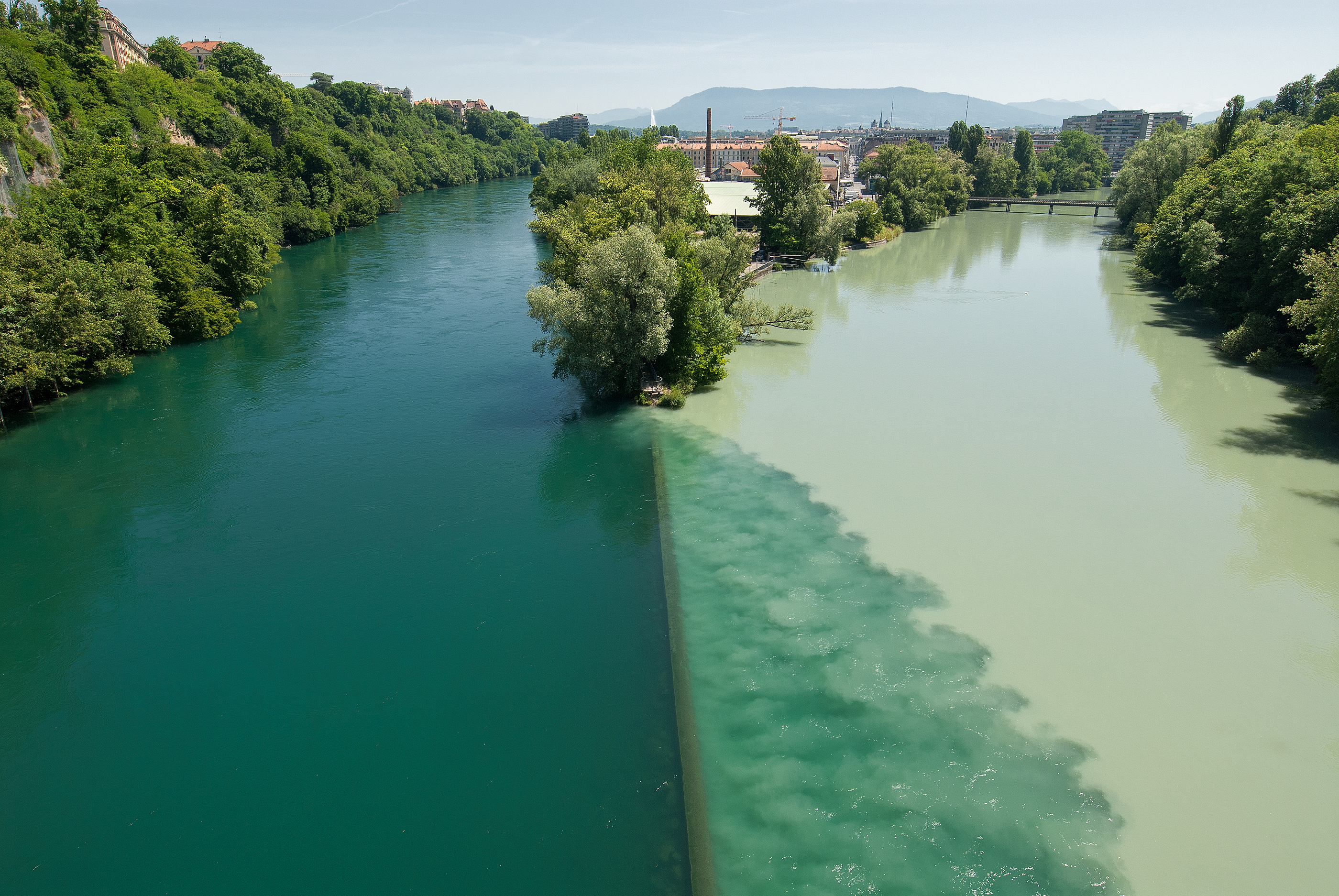 Jonction Rhone Arve rivers, different colors, Geneva, Switzerland