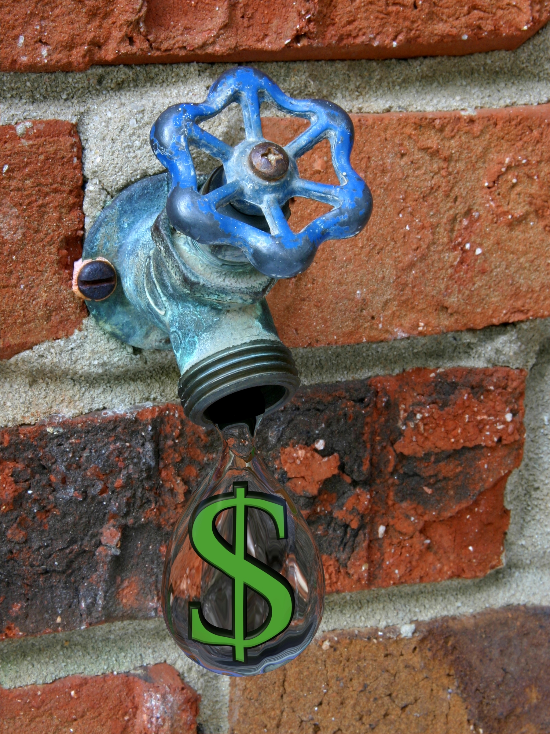Water drop with a dollar sign inside. Money down the drain, or visualizing the cost of wasting water.